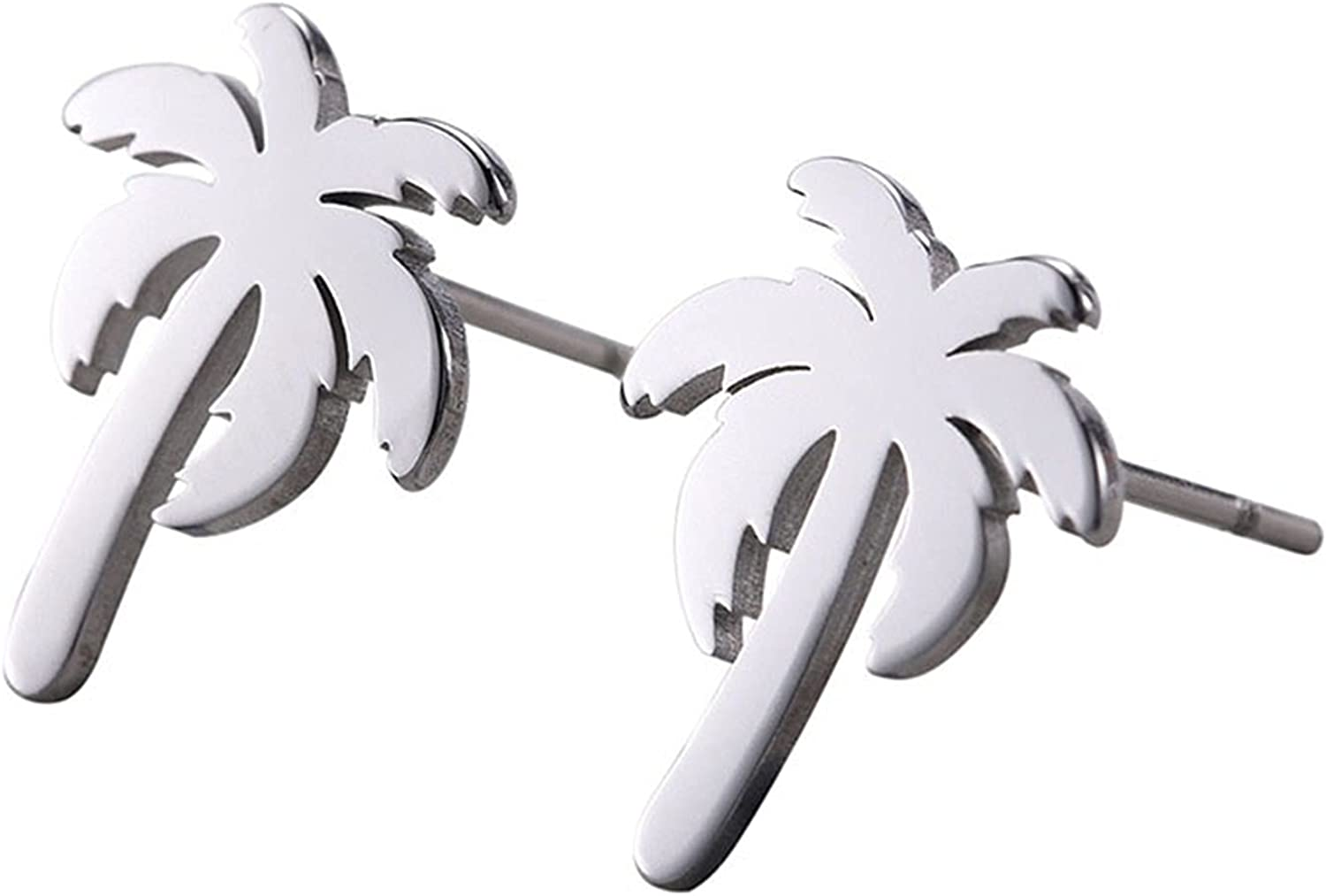 ONLYJUMP Tiny Coconut Palm Tree Stud Earrings for Women Girls Simple Chic Personalized Stainless Steel Hawaii Tropical Summer Holiday Beach Post Earrings