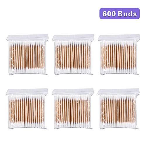 Coton Tiges 6 Paquets 600 Pièces Bourgeons de Coton en Bambou pour Outil de Nettoyage pour Soins de Nettoyage des Oreilles Soin des Blessures Outil Cosmétique Biodégradables Double Tête