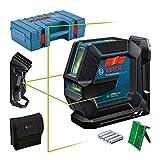 Bosch Professional Livella Laser GLL 2-15 G (laser verde, supporto LB 10, morsetto per soffitto, raggio d'azione visibile: fino a 15 m, 4x batterie AA, valigetta)