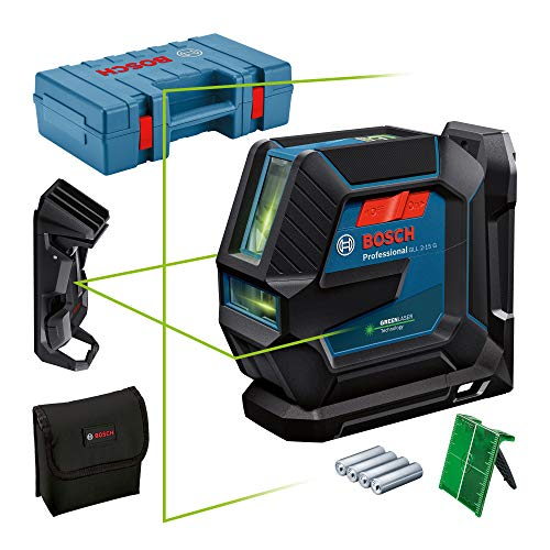 Bosch Professional Nivel Láser de interior GLL 2-15 G (láser verde, soporte LB 10, soporte para techos, alcance visible: hasta 15m, 4x pilas AA, maletín)