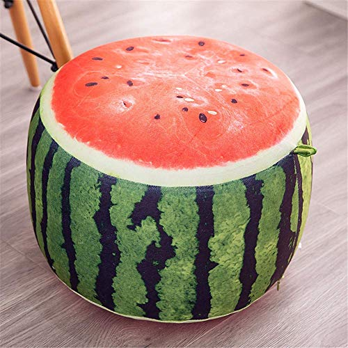 MIAO Cute and fun inflatable stool sofa home decoration portable chair long plush air-cushioned comfortable seat footrest and shoes to wear footstool + free inflatable pump (watermelon)