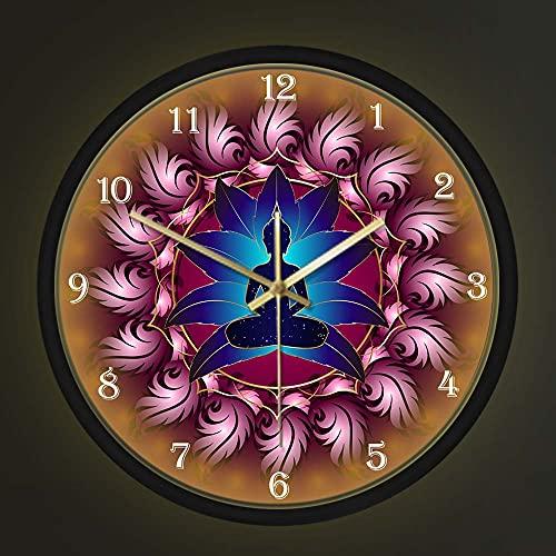Geek Alerts Chakras Energy Healing Wall Clock with Voice Control LED Night Light, Buddha in Lotus Mandala Flower Yoga Metal Frame Non Ticking Wall Watch Buddhism Home Decor