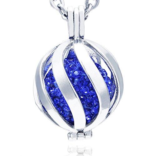 Morella Collar ángel de la Guarda de Acero Inoxidable 70 cm con Colgante Espiral y Bola de resonancia de circonita de Color Azul Ø 16 mm para Damas en Bolsa para Joyas