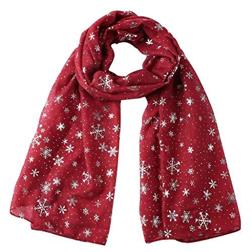 CHUTD Bufanda de Seda de Navidad Bufandas de Seda de Morera para Mujer Seda de Playa Protector Solar Chal Abrigo Bufanda de Seda de satén para Mujer Bufanda Larga para Todas Las Estaciones (Vino)