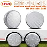 AmFor Set of 4 Tire Covers,Waterproof Aluminum Film Tire Sun Protectors, Fits 27' to 29' Tire Diameters, Weatherproof Tire Protectors
