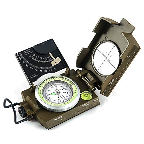 Eyeskey Multifunctional Military Metal Sighting Navigation Compass with Inclinometer | Impact Resistant & Waterproof Compass for Hiking, Camping, Boy Scout...
