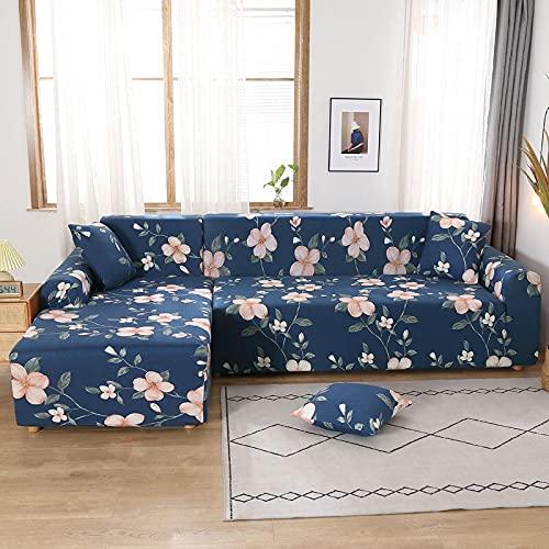 Funda elástica para sofá, Funda elástica seccional para sofá, Funda para Sala de Estar, Funda para sillón de Esquina en Forma de L, A2, 3 plazas