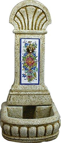 DEGARDEN AnaParra Fuente Pilón de Pared de hormigón-Piedra y Azulejos Pintados a Mano Exterior jardín 44x36x98cm. | Fuente de Agua de hormigón-Piedra 44 x36 x98cm.