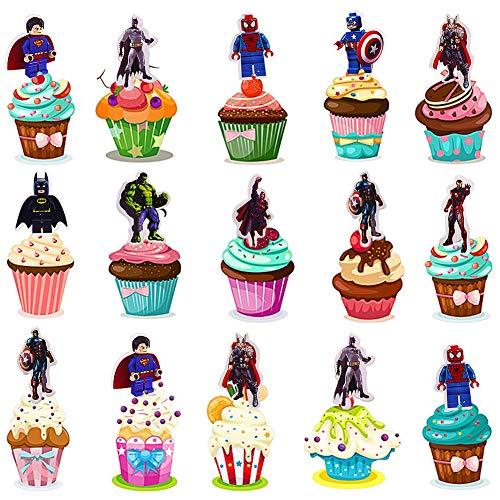 96 X Kit de Decoraciones de Cumpleaños de Superhéroes,Cupcake Toppers Decoración,colocar sobre la mesa figurines obleas decorativas para cupcakes