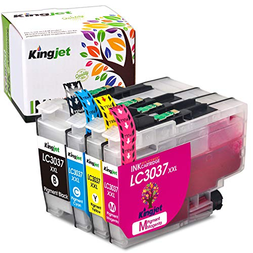 Kingjet Compatible Ink Cartridge Replacement for Brother LC3037, LC3037XXL Work with MFC-J5845DW, MFC-J5845DWXL, MFC-J5945DW, MFC-J6545DW, MFC-J6545DWXL, MFC-J6945DW Inkjet Printers, (1BK 1C 1M 1Y)