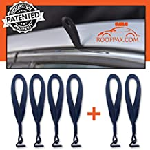 RoofPax 6 Rooftop Cargo Tie Down Hook Straps for Strapping Down Any Car Top Luggage NO More Straps Inside Your CAR, 100% Waterproof, Attaches to Car Door Frame, Patent Registered,!