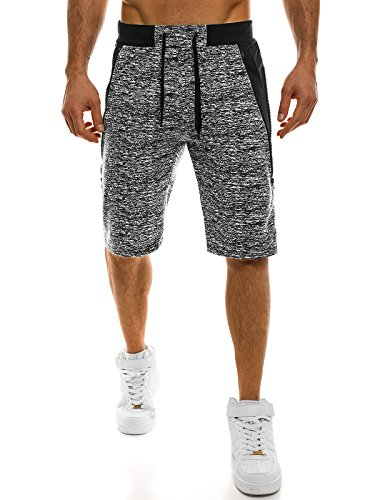 OZONEE Herren Sporthose Kurz Shorts Sweatpants Trainingshose Kurze Hose Bermuda Sportshorts Jogginghose Freizeithose Laufshorts Sweatshorts Herrenhose Sport RED Fireball w1108 SCHWARZ 2XL
