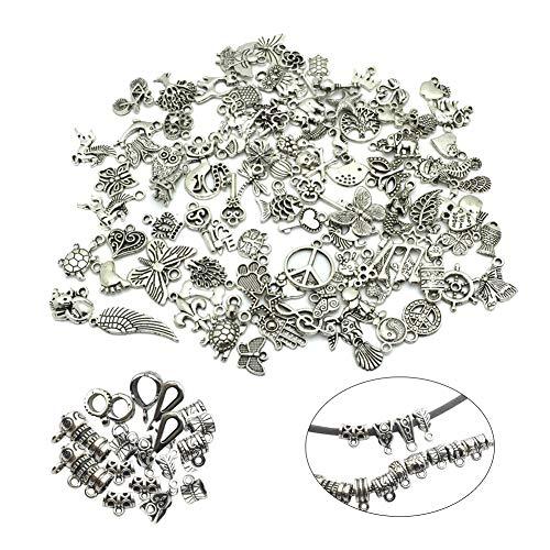 SwirlColor Charm-anhänger, Multi-Formen Antik Silber Charms Handmade DIY Charm Armbänder Anhänger Halskette Ohrring Keychains - 130 Stück