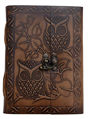 owl Leather Journal Bound Embossed Notebook Potter Write Book Handmade Paper Writing journals Mens Artsy Binder Books Women Celtic Non refillable Diary 7x5 inch