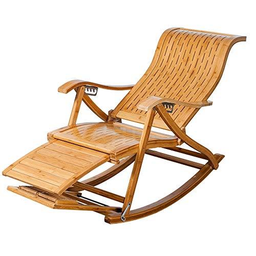 Silla plegable alvyu, reclinables tipo S Lath bambú mecedora perezoso viejo Siesta silla silla de salón silla plegable sillas de jardín extraíble silla de algodón cojín de playa