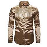 TDL Men's Shirt Sequin Show Night Club Host MC Men's Lapel Long Sleeve Shirt Golden