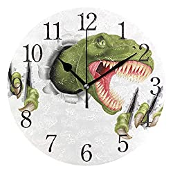 senya Wall Clock Green Dinosaur Silent Non Ticking Operated Round Easy to Read Home Office School Clock