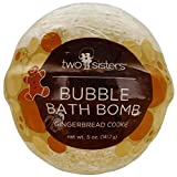 Gingerbread Cookie Christmas Bubble Bath Bomb by Two Sisters Spa. Large 99% Natural Fizzy for Women, Teens and Kids. Moisturizes Dry Sensitive Skin. Releases Color, Scent, and Bubbles. Handmade in USA