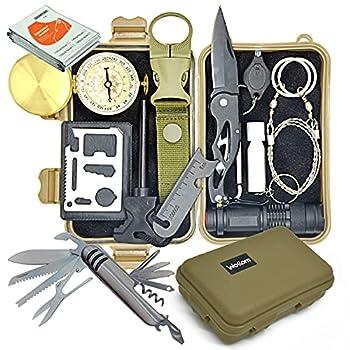Wokkom -Kit de Survie Militaire Kaki Complet avec 11 Outils Multifonctions pour Camping, Voyage. 11 Essentiels de Survie: Couteau, Lampe, Boussole, sifflet. Idée de Cadeau pour passionné de Nature.