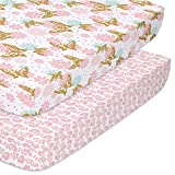 The Peanutshell Fitted Pack n Play, Playard, Mini Crib Sheets for Baby Girls | 2 Pack Set | Pink & Gold Butterfly and Pink Ditsy Floral