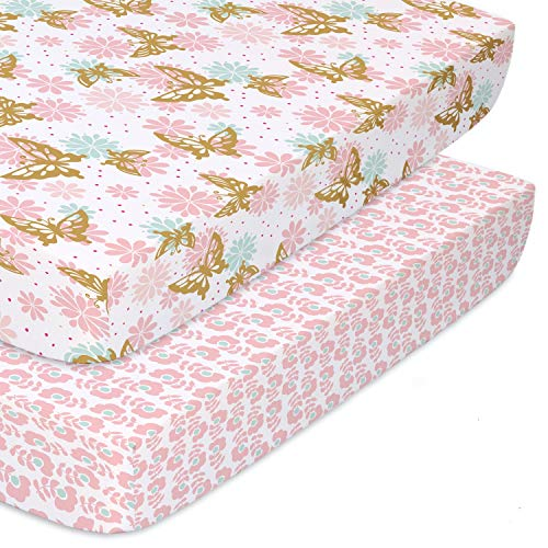 The Peanutshell Fitted Pack n Play, Playard, Mini Crib Sheets for Baby Girls   2 Pack Set   Pink & Gold Butterfly and Pink Ditsy Floral