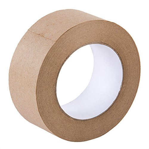 Looneng Water Activated Gummed Kraft Paper Tape - 48mm Width x 54.7 yd Length - Stretching Paper, Tamper Evident