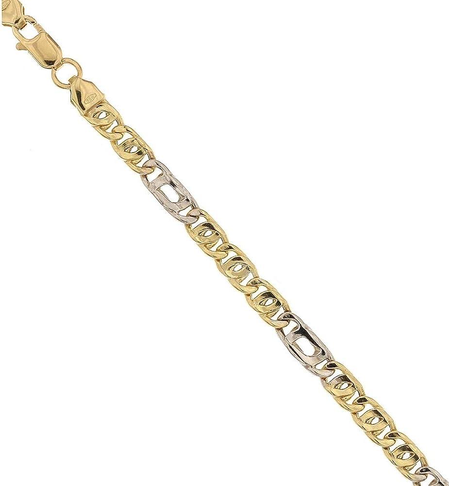 Gioielleria momenti preziosi,bracciale in oro giallo e bianco 18k/750 (5,3 gr) maglia tigre alternata,per uomo 21703793-GB