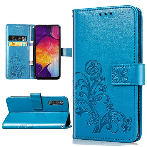 Halnziye Case for Samsung Galaxy A50, Magnetic Closure Soft TPU Flip Leather Wallet Phone Case with Kickstand Card Slots Designed for Samsung Galaxy A50s/A30s Cover - Blue