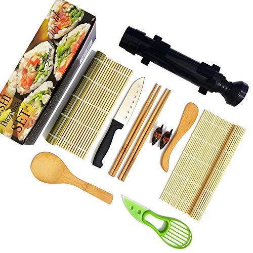 Sushi making kit  Sushi set  Sushi kit  Sushi roller with bazooka maker sushi knife stainless sushi bamboo rolling mat Sushi making kit for beginners