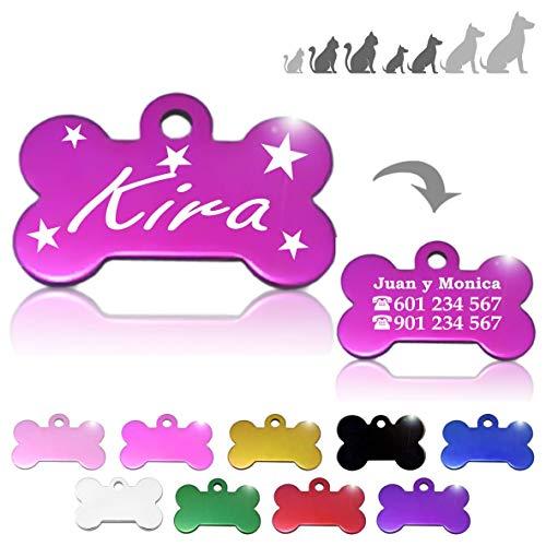 Hueso para Mascotas pequeñas-Medianas con Estrellas Placa Chapa Medalla de identificación Personalizada para Collar Perro Gato Mascota grabada (Fucsia)