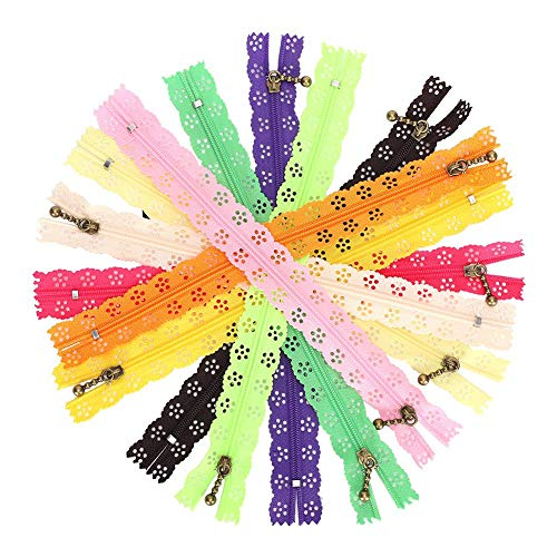 10 piezas de cremalleras de encaje para coser, cremalleras de nylon para...