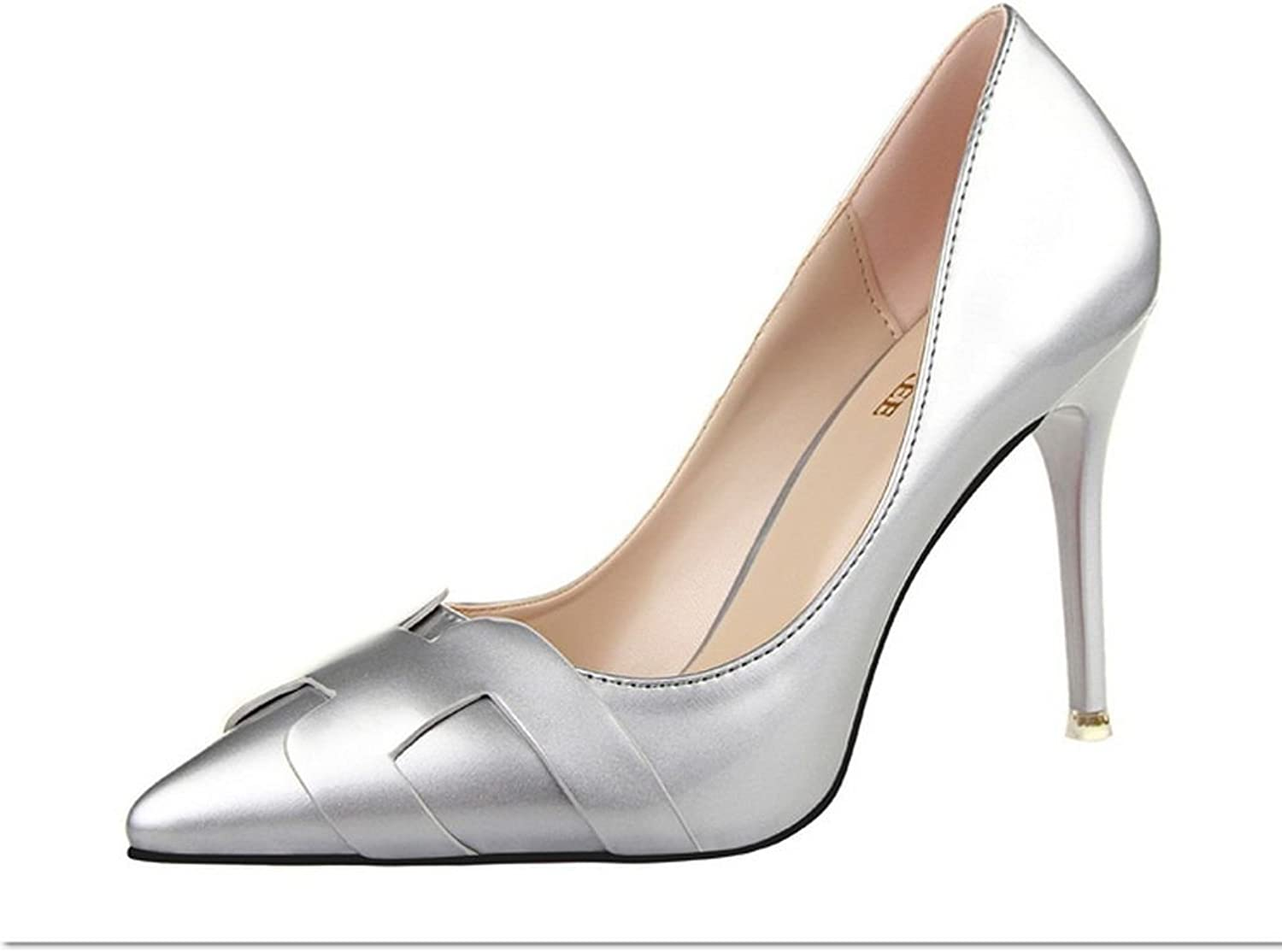 R.Y.S.E Ryse Women's Fashionable Decoration Leather Simple Classic Temperament High Heels Pointy shoes(38 M EU 7.5 B(M) US, Silver)