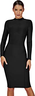Women's Classic Long Sleeve Bandage Bodycon Outfit Elegant Wedding Evening Party Knee Length Dresses