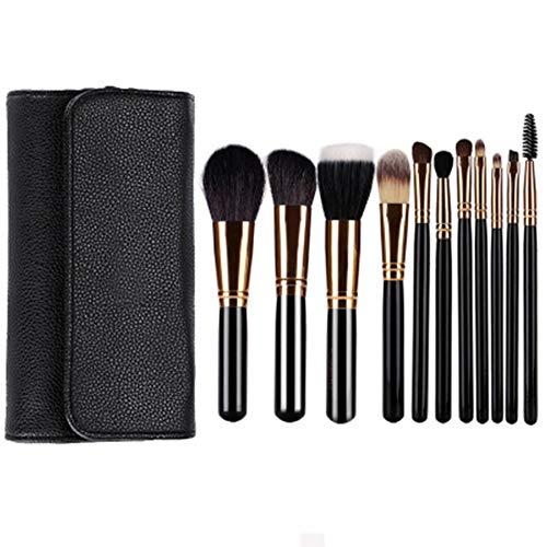 Pinceaux de Maquillage Noir 11 Pièces Pinceaux Cosmétiques de Qualité Fondation Fard à Paupières Fard à Paupières Kabuki Ensemble de Pinceaux de Maquillage pour Le Visage Beau Cadeau pour Dames