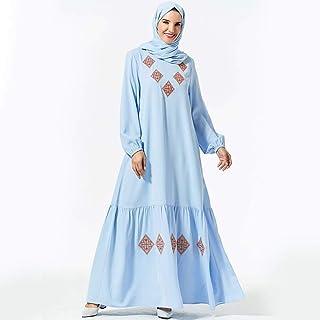 Embroidery Women Muslim Long Sleeve Maxi Dress Abaya Pleated Islamic Dubai Gown Arab Turkish Ethnic Style Autumn Dresses Fashion