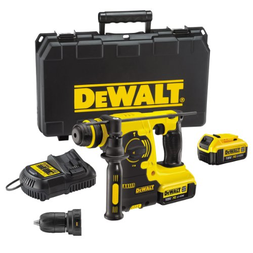 DeWalt 18V XR Lithium-Ion SDS Plus Rotary Hammer Drill with Quick Change Chuck includes 2 x 4Ah Batteries