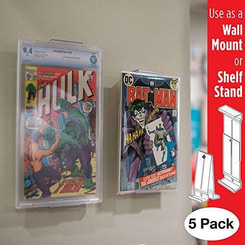Comic Mount Comic Book Frame, Wall Mount and Shelf Stand, Invisible and Adjustable, 5 Pack