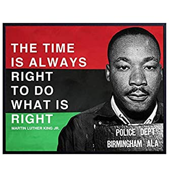 African American Flag Martin Luther King Quote Wall Art - 8x10 Motivational home Decor Decoration Photo Poster - Cool Unique Gift for Black History Month Teacher Classroom MLK Malcolm X Fan
