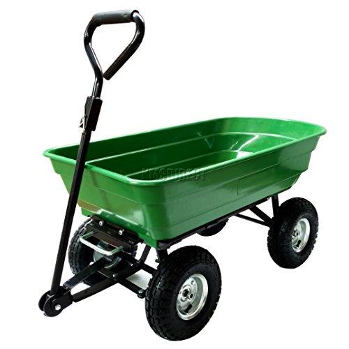 BIRCHTREE New Heavy Duty Garden Dump Truck Tipping Trailer Tipper Trolley...