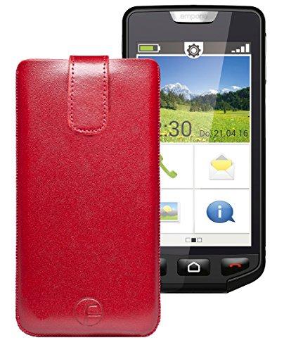 Original Favory Etui Tasche für / emporia SMART / Leder Etui Handytasche Ledertasche Schutzhülle Hülle Hülle *Lasche mit Rückzugfunktion* In Rot