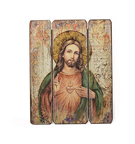 "Joseph's Studio by Roman - Sacred Heart Decorative Panel, 15"" H, Courageous Panels, Medium Density Fiberboard, Home Decor, Religious, Giftware, Decorative, Beautiful Detail"