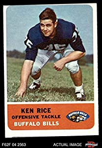 1962 Fleer # 17 Ken Rice Buffalo Bills (Football Card) Dean's Cards 2 - GOOD Bills Auburn