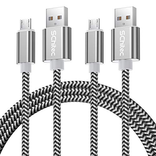 Micro USB Kabel, 2Pack 3M Micro USB Ladekabel USB 2.0 Nylon Geflochtenes High Speed Sync und Schnellladekabel für Samsung Galaxy Note,Nexus,HTC,LG,Nokia,Kindle und mehr Android Gerät (2Pack-3M)