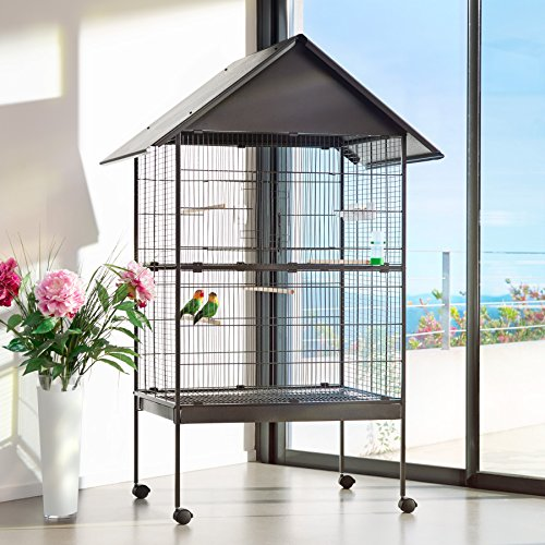 TecTake 800449 Jaula para Pájaros, Pajarera XXL con Ruedas, para Aves Canarios Periquitos - Varios Modelos (con Techo | No. 402288)