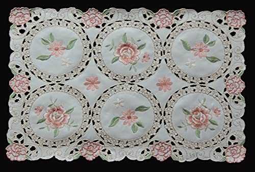 Creative Linens 4PCS Embroidered Pink Rose Daisy Floral Pastel Placemats 11x17 Ivory, Set of 4 Pieces