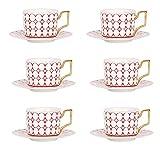 SLW 6 Unids Creativo Taza De Cerámica Taza De Café Vajilla De Cocina Personalizada Patrón Geométrico Taza De Té De Cerámica Decoración del Hogar Nórdico Taza y platillo Estilo M