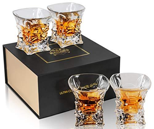 KANARS Whisky Gläser, Bleifrei Kristallgläser, 4-teiliges Whiskey Glas, 230ml, Luxuriös Geschenk