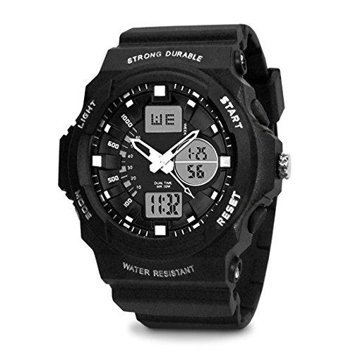 TOPCABIN Jungen Uhren Herren Kinder Armbanduhr Analog Digital Wasserdicht mit Wecker/Timer/LED-Licht/Silikon band,Elektronische Stoßfest Sports Uhren für Jungen Weiß