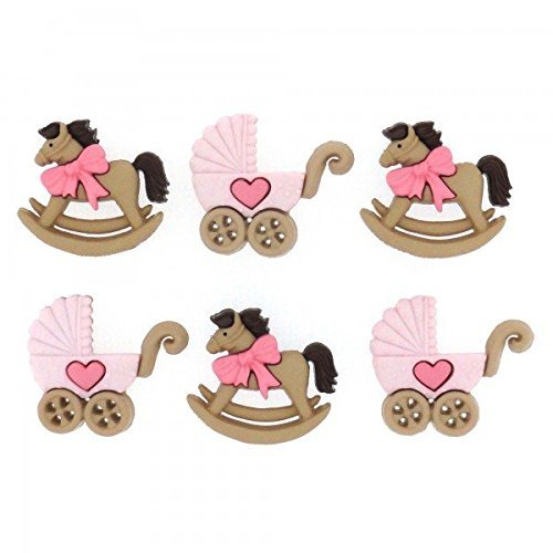 Pink Rocking Horse & Buggy - Novelty Craft Buttons & Embellishments by Dress It Up