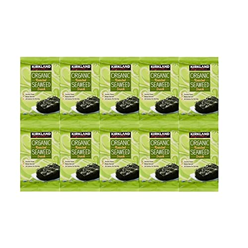 Kirkland Signature Organic No Preservatives/MSG Roasted Seaweed Snack, Sesame (Winter Harvest): 10 Pack (0.60 oz.)